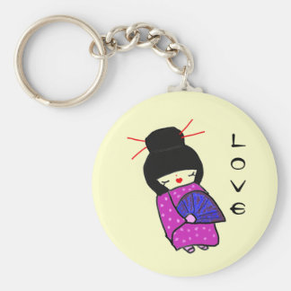 Japanese Doll Basic Round Button Key Ring