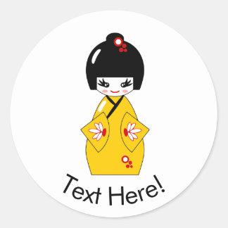 Japanese doll classic round sticker