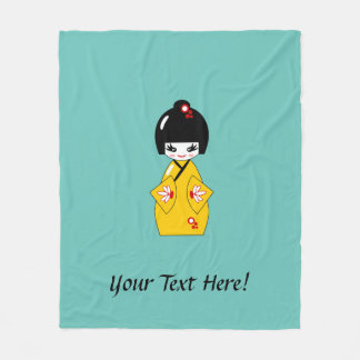 Japanese doll fleece blanket