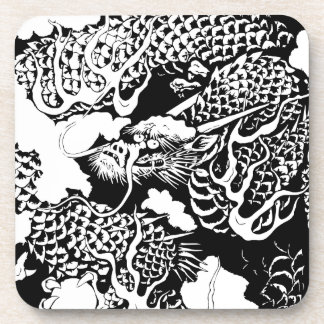 Japanese dragon beverage coasters