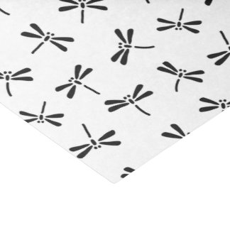 Japanese Dragonfly Pattern, Black and White Tissue Paper