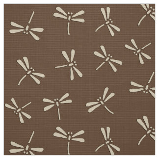 Japanese Dragonfly Pattern, Cream and Taupe Tan Fabric
