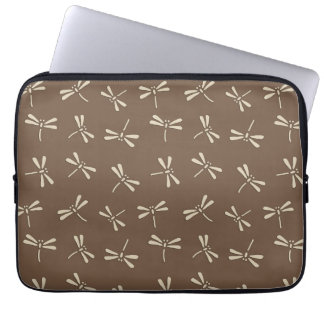 Japanese Dragonfly Pattern, Cream and Taupe Tan Laptop Sleeve