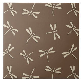 Japanese Dragonfly Pattern, Cream and Taupe Tan Large Square Tile