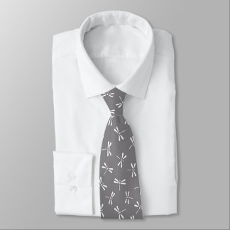 Japanese Dragonfly Pattern, Grey / Gray and White Tie