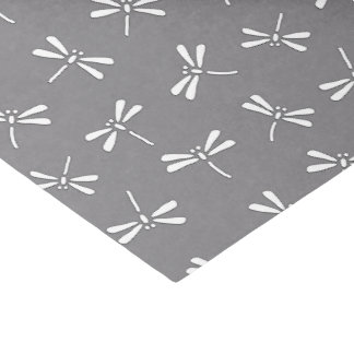 Japanese Dragonfly Pattern, Grey / Gray and White Tissue Paper