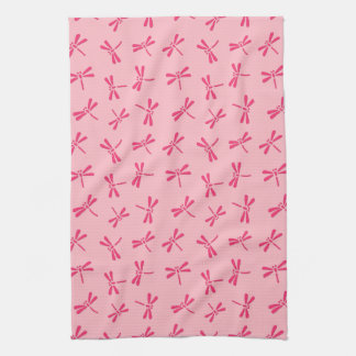Japanese Dragonfly Pattern, Light Coral Pink Tea Towel