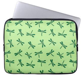 Japanese Dragonfly Pattern, Light Jade Green Laptop Sleeve