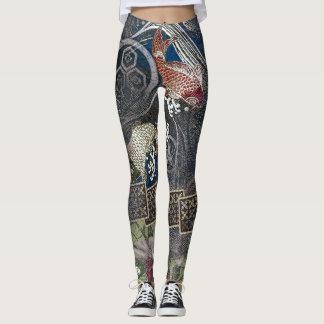 Japanese Embroidered Silk Koi Leggings