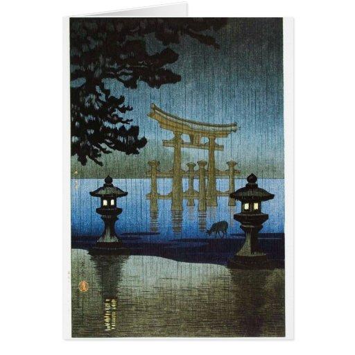 Japanese Evening Rain Woodblock Art Ukiyo-e Greeting Cards