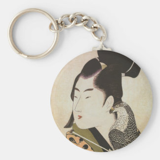 Japanese Falconer in a Kimono Vintage Art Keychain