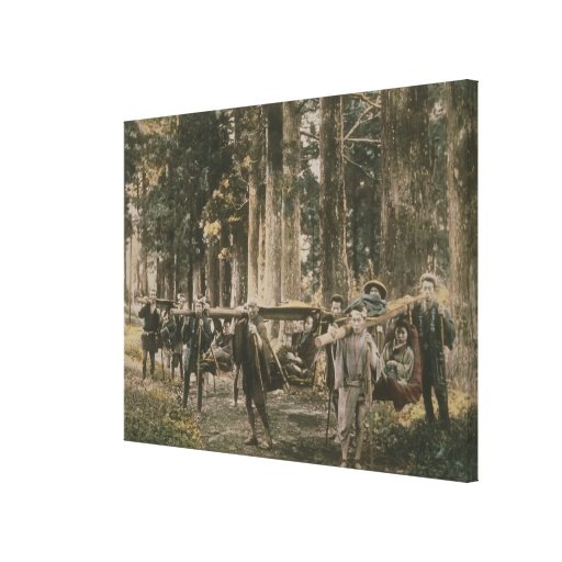 Japanese family being carried in litters, c.1880s stretched canvas print