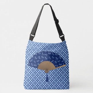 Japanese Fan, Dragonfly Pattern, Cobalt Blue Crossbody Bag