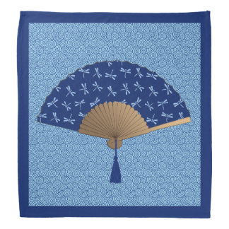 Japanese Fan, Dragonfly Pattern, Cobalt Blue Do-rag