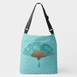 Japanese Fan in Asanoha pattern, Turquoise Tote Bag