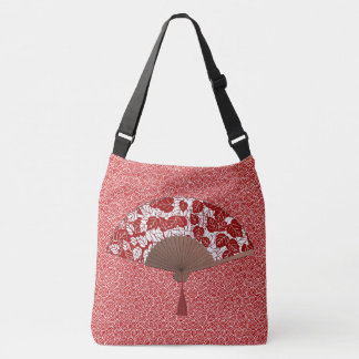Japanese Fan in Leaf Print, Dark Red and White Tote Bag