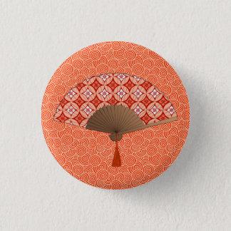 Japanese Fan, Shippo Motif, Mandarin Orange 3 Cm Round Badge