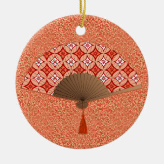 Japanese Fan, Shippo Motif, Mandarin Orange Ceramic Ornament