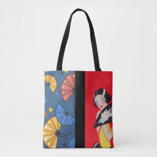 Japanese Fans and Girl Red Gold Blue Tote Bag