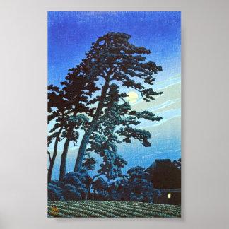 Japanese Farm with Tree Woodblock Art Ukiyo-E Poster