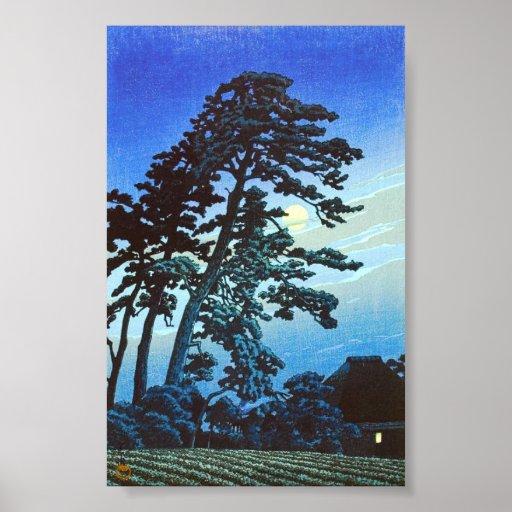 Japanese Farm with Tree Woodblock Art Ukiyo-E Print