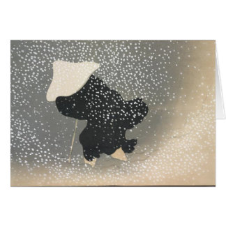 JAPANESE FIGURE IN THE SNOW BLANK NOTE CARD