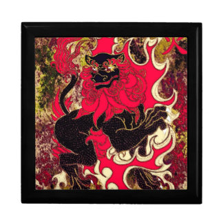 Japanese Fire Dragon (Black) Large Square Gift Box