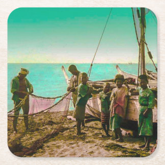 Japanese Fishermen Prepare Their Nets in Old Japan Square Paper Coaster