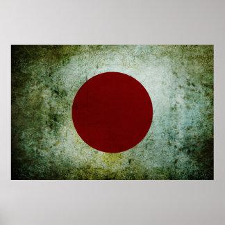 Japanese Flag (distressed metal) Poster