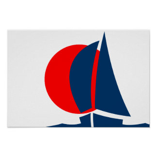 Japanese Flag Sailing Yacht Japan Nautical Poster