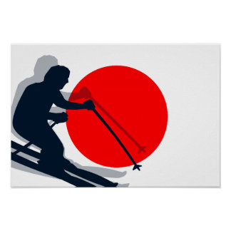 Japanese Flag Ski Japan Winter Sports Poster