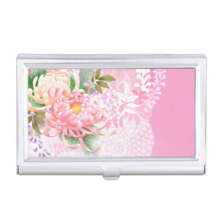 Japanese Floral Art Mums Pink White Green Business Card Cases
