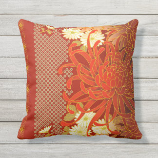 Japanese Floral Art Mums Red White Green Outdoor Cushion