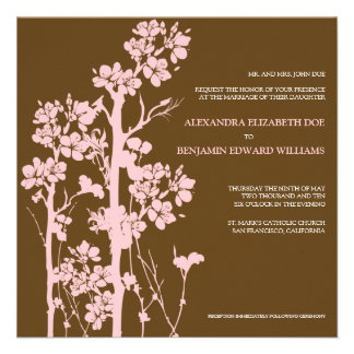 Japanese Floral Chocolate/Pink Wedding Invitation