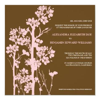 Japanese Floral Chocolate/Pink Wedding Invitation