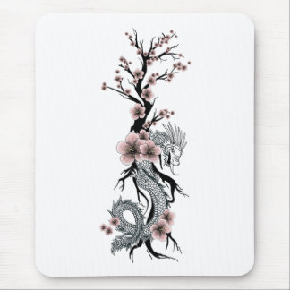 Japanese Floral Dragon Mousepad