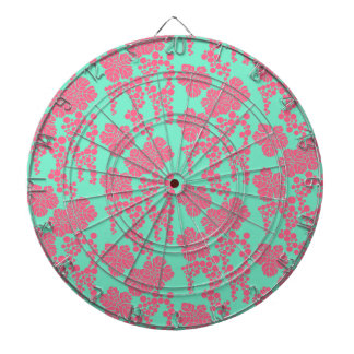 Japanese Floral Print - Pink & Teal Dart Board