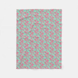 Japanese Floral Print - Pink & Teal Fleece Blanket