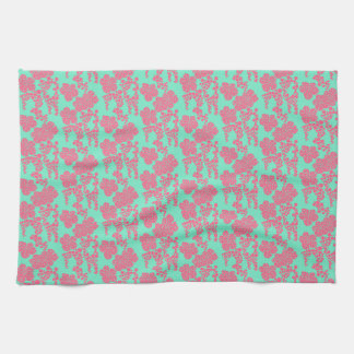 Japanese Floral Print - Pink & Teal Kitchen Towel