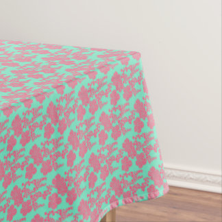Japanese Floral Print - Pink & Teal Table Cloth
