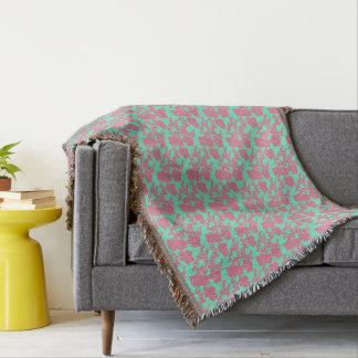 Japanese Floral Print - Pink & Teal Throw Blanket