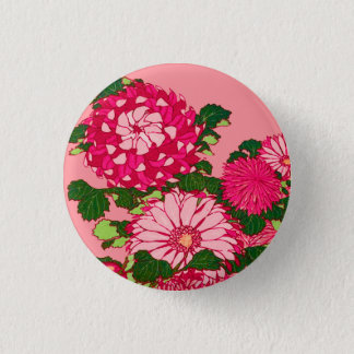 Japanese Flower Border, Fuchsia and Coral Pink 3 Cm Round Badge