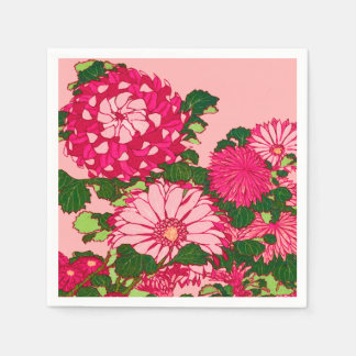 Japanese Flower Border, Fuchsia and Coral Pink Disposable Napkins