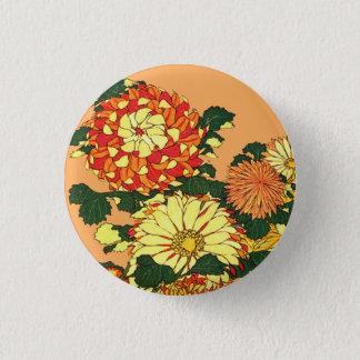 Japanese Flower Border, Mandarin Orange and Gold 3 Cm Round Badge