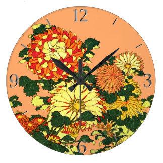 Japanese Flower Border, Mandarin Orange and Gold Large Clock