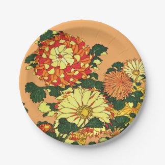 Japanese Flower Border, Mandarin Orange and Gold Paper Plate