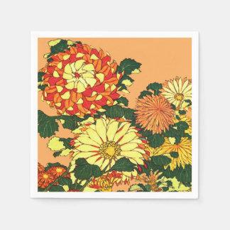 Japanese Flower Border, Mandarin Orange and Gold Paper Serviettes
