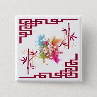 Japanese flower garden 2-Inch Square Button