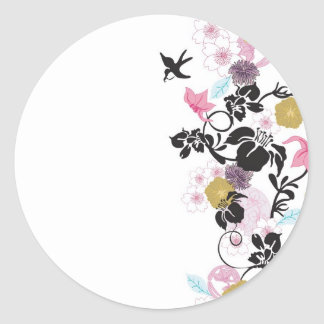 Japanese flowers and birds round sticker