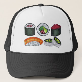 Japanese Food Sushi California Tuna Roll Foodie Trucker Hat